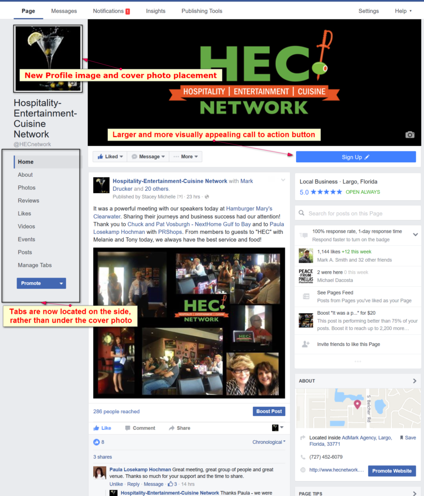 NEW FACEBOOK LAYOUT HEC NETWORK